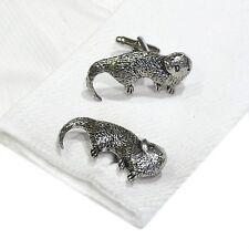 English Pewter OTTER  animal Cufflinks. Xmas Gift NEW (X2TSBCA13)