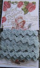 "5 yd ~3/8"" Vintage Gray Blue Cotton Ric Rac Trim~doll ~ rick rack"