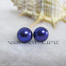 8.0-8.5mm Dark Purple Freshwater Pearl Stud Earrings AC