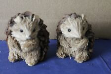 Very unusual hand crafted Pair wooden Hedgehogs