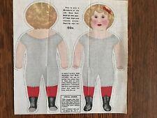 "Antique Cloth Uncut Art Fabric Mills Miniature of Life Size Doll 8"""