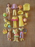 "Polly Pocket Doll Lot ""Colors of the Rainbow"" Yellow Pet Clothing 9-18"