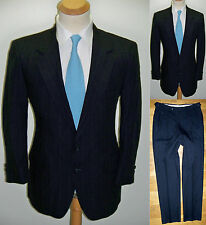 41S VTG 2pc MOD ~Lacrosse~ Blue Wool Blend Pinstripe Mens Hipster Gangster Suit