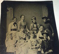 Antique Victorian American Fashion Group of Gorgeous Young Girls Tintype Photo!