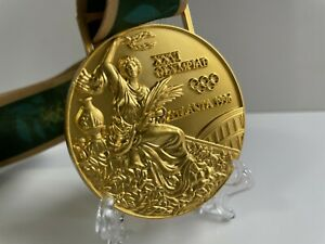 1996 Atlanta Olympic Gold Medal with Silk Ribbons & Stand **Free Shipping**