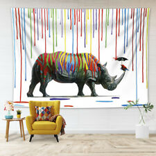 Colorful Paint Rain Rhinoceros Tapestry Wall Hanging Living Room Bedroom Dorm LB