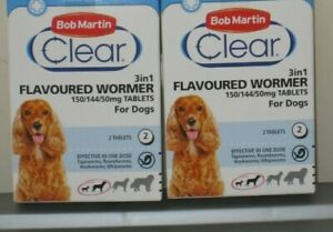 4 X BOB MARTIN DOG WORMER CLEAR, FLAVOURED FOR DOGS 3-20kg.EX 2025