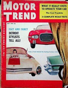Vtg Original Motor Trend Magazine Detroit Stylist Tell All July 1954 m916