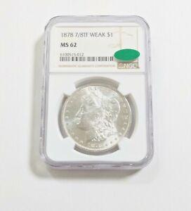 1878 7/8TF Weak strike Morgan silver dollar NGC MS-62 CAC-blast white coin