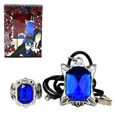 Black Butler Cosplay Ciel Sapphire Ring Necklace