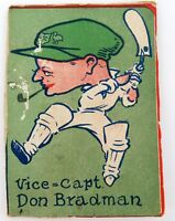 .SUPER RARE 1930's DON BRADMAN LARGE COLOUR CARICATURE LAID TO BOARD.