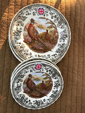 Queen's QUINTESSENTIAL GAME PHEASANT THANKSGIVING  Plates- 4 DINNER 4 SALAD NEW