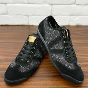 Authentic EUC Louis Vuitton Sneakers Black Denim Monogram Fit 10.5 US or 43,5 EU