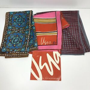 Vintage Lot of 3 Vera Neumann Silk Scarf Scarves & Rare Book Folding Ideas