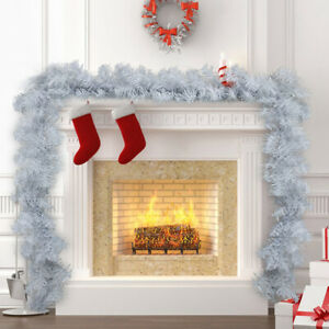 9ft Artificial Christmas Garland Wreath Xmas Tree Fireplace Decorations White