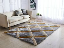 5x7 - AREA RUGS - CARPET - SHAG - GRAY AND YELLOW - MODERN - NEW