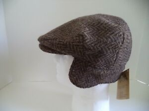 Hanna Hats Irish brown flat cap ear neck flap Donegal tweed Ireland wool warm
