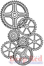 Deep Red Stamps Gears Background Rubber Cling Stamp