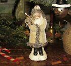 Primitive BELSNICKLE White Velvet Santa Claus Christmas Tree Ornament