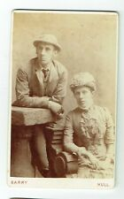 Victorian cdv photo couple wearing hats Hull photographer