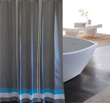 Mid grey turquoise blue white stripes shower curtain 2m new free shipping
