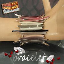 Stretch Elastic Two Tone Silver Plated Brass Bracelet Bangle Cuff Wristband