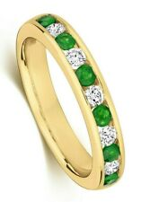 Emerald Eternity Ring Yellow Gold Real Diamond Channel Set Certificate Size R-Z