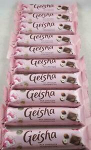 10 x geisha milk chocolate bars with soft hazelnut filling 37g 28.01.2021