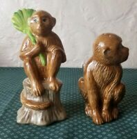 Monkey Salt and Pepper Shakers Brown Ceramic