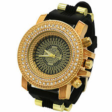Mens Gold Black Iced Hip Hop Black Fashion Silicone Quartz Wrist Watch milano
