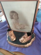 Bronzed Baby Shoes on Stand with Picture Frame - 1930's - 1940's Vintage Antique