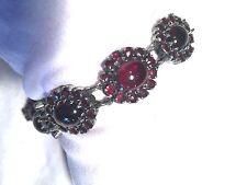 Vintage Antique Bohemian Genuine Garnet 925 Sterling Silver Bracelet