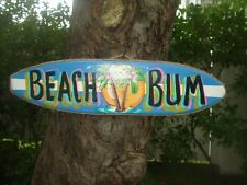 BEACH BUM DECORATIVE TROPICAL SURFBOARD POOL PATIO TIKI BAR KIDS ROOM SIGN
