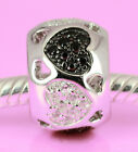 SOLID 925 Sterling Silver LOVE HEARTs Bead w Black & Clear Cz For Charm Bracelet