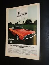 Vintage 1971 Dodge Challenger print ad **FREE SHIPPING**