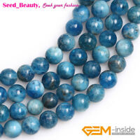 """New Natural Round Apatite Gemstone for Jewelry Making Loose Beads Strand 15"""""""