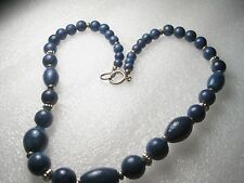 Vintage Graduated Lapis Lazuli beaded necklace with goldtone bead accents, 18""