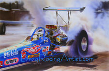 "Tom ""Mongoose"" McEwen's 72 ""Hot Wheels"" Dragster. Drag Racing Art Print"