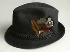 Vintage Beau Chasseur Wool Felt Dk Gray Fedora Hat Braided Feathers Badge 6 7/8