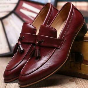 Men's Tassel Formal Dress Wedding Shoes Casual Round Toe Loafers Slip On Pumps