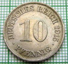 GERMANY EMPIRE KAISERREICH WILHELM II 1915 A 10 PFENNIG, HIGH GRADE WWI COINAGE