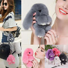 Rex Rabbit Fur Cute Bunny Pom Ball Doll Toy Handbag Pendant Bag Charm Key Ring