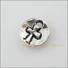 18Pcs Tibetan Silver Tone Round Cross Charms Pendants 9.5mm