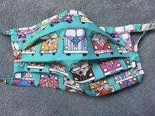 Handmade Aqua Campervans  washable reusable cotton face mask with Ties.