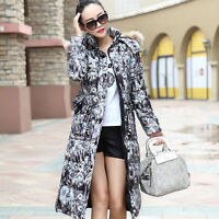 Winter Womens Down Cotton Long Fur Collar Hooded Coats Jackets Parka Floral New