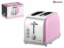 Pink 900W 2 Two Slice Wide Slot Toaster Quick Toast Defrost Reheat Function AB
