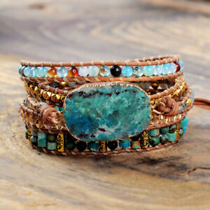 Handmade Natural Stone Chrysocolla & Indian Agate Beaded Wrap Bracelet Cuff