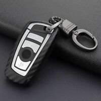 For BMW 1 2 3 4 5 6 7 Series X3 X4 Carbon Fiber Key Case Cover Fob Holder Shell