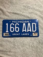 March 1987 Michigan Blue And White License Plate 166 AAD