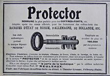 PUBLICITÉ DE PRESSE 1909 PROTECTOR SERRURE POUR LES COFFRES-FORTS